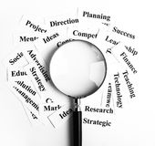 Business vision concept. Magnifying glass and lot of other business concept words paper is showing the concept of business vision concept. Blank space of Royalty Free Stock Photos