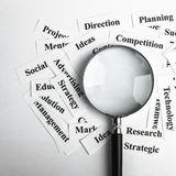 Business vision concept. Magnifying glass and lot of other business concept words paper is showing the concept of business vision concept. Blank space of Royalty Free Stock Photo