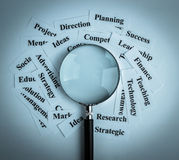 Business vision concept. Magnifying glass and lot of other business concept words paper is showing the concept of business vision concept. Blank space of Royalty Free Stock Images