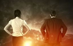 Business vision concept. Business vision and strategy concept with businessman and businesswoman stock photo