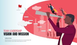 Vision concept in business with vector icon of businessman and telescope stock illustration