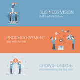 Business vision payment crowdfunding concept flat icons banners. Flat business vision, payment, crowd funding concept. Vector icon banners template set. Business Stock Photos