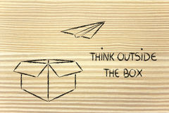 Business vision: think outside the box. Think outside the box for business success Royalty Free Stock Images