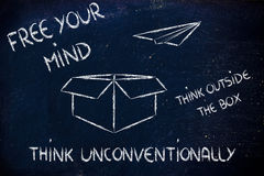 Business vision: think outside the box. Think outside the box for business success Stock Photos
