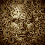 Business Visionary. And educator symbol with a front view human head made of gears and cogs on a grunge parchment texture as a financial concept of Royalty Free Stock Photos