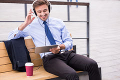 Business voyager with tablet Royalty Free Stock Photo