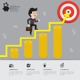 Business walking on graph finance to target  infographic concept. Royalty Free Stock Photo