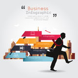 Business walking with infographic building background Royalty Free Stock Photos