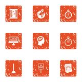 Business wandering icons set, grunge style. Business wandering icons set. Grunge set of 9 business wandering vector icons for web isolated on white background Stock Photo