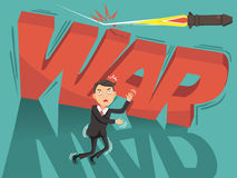 Business war. Shoot missile hit Red alphabet and Anxiety of businessmen.Under shadow of war. Business impact concept because of war.Vector illustration isolated Stock Images