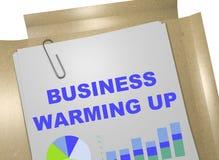 Business Warming Up concept. 3D illustration of `BUSINESS WARMING UP` title on business document royalty free illustration