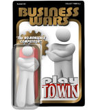 Business Wars Action Figure Dedicated Employee. A dedicated worker, employee, manager or leader as an action figure in a package labeled Business Wars - The No Royalty Free Stock Photos