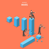 Business wars isometric flat vector concept. Man is jumping up on the financial graph columns but two other men impede him to do it by breaking columns Royalty Free Stock Photos