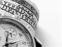 Business watch. And bill of hundred dollars (background Stock Images