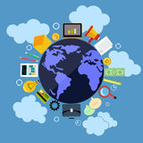 Business web applications with globe concept Stock Photos