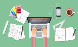 Business web coding and creative design workspace. Business workspace and tool  background concept Stock Image