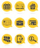Business and finance icons set. Colored business and finance icons set Stock Images