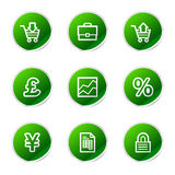 Business web icons. Vector web icons, green sticker series icon set Stock Photos