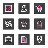 Business web icons. Vector web icons, grey square buttons series Stock Image