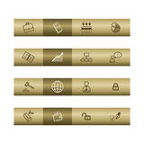 Business web icons on bronze bar. Web icons on bronze bar. Vector file has layers, all icons in two versions are included Stock Photography