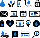 Business web icons with water drop. Set of different business web icons with blue drops of water, white background Royalty Free Stock Photos