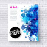 Business Web Template with Abstract Blue Hexagons Royalty Free Stock Photography