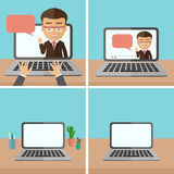 Business webinar set. Concept of distant online learning, conference and consultation. Office working vector illustration
