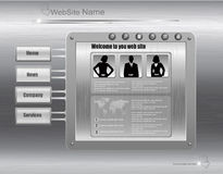 Business website design template, metallic silver. Stock Images