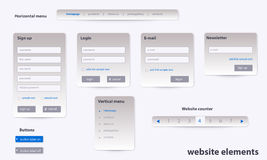 Business website elements with text Royalty Free Stock Images