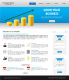 Business website template. With coins stack Stock Images