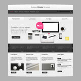 Business Website template vector design with realistic still life illustration, tablet, coffee, notebook. Royalty Free Stock Image