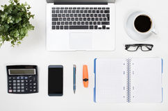 Business white desk in office top view Stock Photo