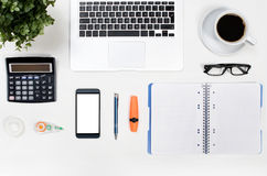 Business white desk in office top view Royalty Free Stock Photos