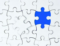 Business white puzzle concept. one pice blue Stock Photo