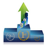 Business winner podium graph illustration Royalty Free Stock Photos