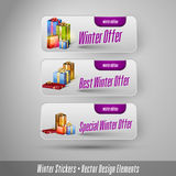 Business winter stickers with gifts. Stock Image