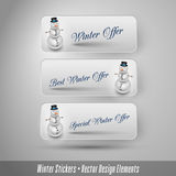 Business winter stickers with snowman. Vector design elements. Stock Photography