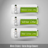 Business winter stickers with snowman. Vector design elements. Stock Photos