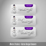 Business winter stickers with snowman. Vector design elements. Royalty Free Stock Image