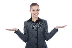 Business With Both Her Empty Palms Extented Presenting Copyspace. Royalty Free Stock Images