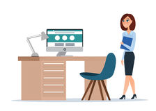 2 business woman 动画片概念 查出的向量例证 图库摄影