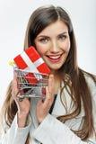 2 business woman 卖概念 奶油被装载的饼干 免版税图库摄影