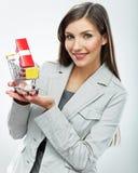 2 business woman 卖概念 奶油被装载的饼干 库存图片