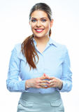 2 business woman 微笑 白种人年轻模型 孤立 免版税库存照片