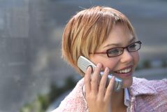 Business woman 05. Young woman wearing glasses at work, lady working Royalty Free Stock Photos