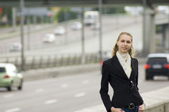 Business woman. Near the road stock image
