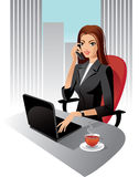 Business woman. Illustration of business woman in office, vector Royalty Free Stock Photo