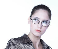 Business-woman. Young business-woman in glassis Royalty Free Stock Photos