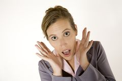 Business Woman. Model Release 357 Businesswoman in early 20s with a very surprised look royalty free stock image