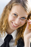 Business woman. 's portrait in eyeglasses royalty free stock image